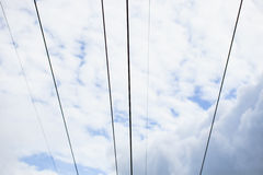 Electricity power line with blue sky and cloud Royalty Free Stock Photography