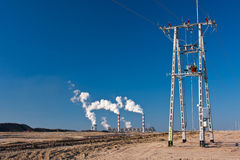 Electricity, power line and power plant Royalty Free Stock Photos