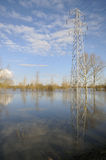 Electricity Power Lines in flood. Electricity Power Lines cross Ashleworth Ham in flood, Viewed from banks of River Severn royalty free stock photos