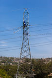 Electricity Power Lines Tower Cable Repairs  Royalty Free Stock Photos