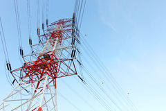 Electricity Power Pylon. Power transmission line on high voltage post Stock Photo