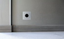 Electricity power socket on wall background. Electricity power socket (European standard) on wall background stock photography