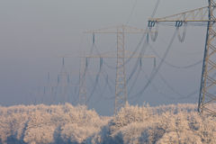 Electricity powerlines in winter. Pylons with electricity power-lines stand out in a winter landscape Royalty Free Stock Photography