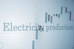 Electricity production. Inscription Electricity production on PC screen. Stock chart as background. Business concept royalty free stock photography