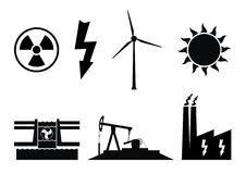 Electricity production symbols and icons. Electricity production symbols. Energy icons of nuclear, wind turbine, solar, hydroelectricity and fossil fuels Royalty Free Stock Image