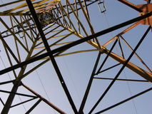 Electricity Pylon. This is an electric pylon taken from directly underneath looking upwards royalty free stock photo