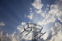 Electricity pylon. Against blue sky Royalty Free Stock Photography