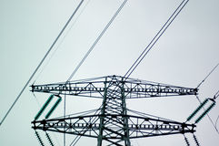 Electricity Pylon. With wires, seen from below Royalty Free Stock Photography