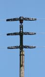 Electricity pylon. Large transmission power pole, with blue sky background Royalty Free Stock Photo