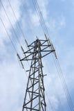 Electricity pylon. Large transmission power pole, with blue sky background stock image