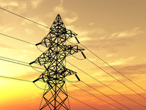 Electricity pylon. High voltage electricity pylon over sky Stock Images