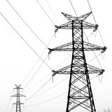 Electricity pylon. Isolated on white stock photo