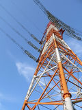 Electricity pylon. High-rise industrial electricity pylon over clear blue sky Royalty Free Stock Image