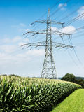 Electricity pylon. Near rosenheim - germany Royalty Free Stock Photos
