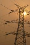 Electricity pylon. Electricity power pylon at sunset Royalty Free Stock Photography