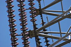 Electricity Pylon. Conductors and insulators Royalty Free Stock Image