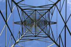 Electricity pylon from below Royalty Free Stock Photography