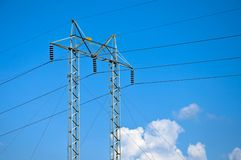 Electricity pylon with blue sky Stock Photo