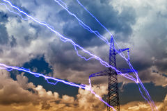 Electricity pylon. On blue sky background royalty free stock photo