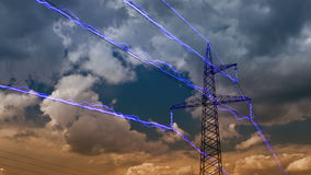 Electricity pylon. On blue sky background. (DSLR, 4K, Raw quality time lapse stock footage
