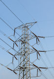 Electricity pylon in blue sky Royalty Free Stock Images