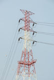 Electricity pylon in blue sky Stock Images