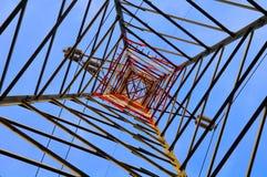 Electricity pylon, bottom view Stock Photos