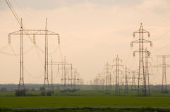 Electricity pylon with cables Royalty Free Stock Photography