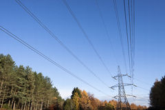 Electricity pylon and cables Stock Images