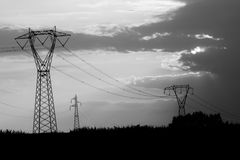 Electricity pylon. With cables in nature Stock Photography