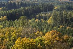 Electricity pylon in colorful forest in autumn Stock Images