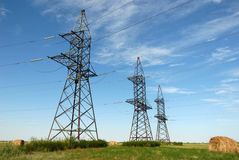 Electricity pylon constructions. Royalty Free Stock Images