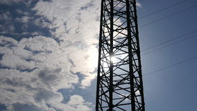 Electricity Pylon. The electricity pylon in the country during sunny day. Full HD resolution. 200MB/s stock video footage