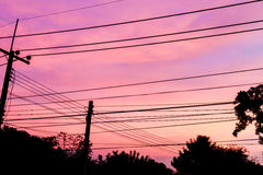 Electricity Pylon at dawn Royalty Free Stock Photo