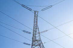 Electricity Pylon, electrical wires. A pylon in Poland, showing geometry of the lines Stock Image