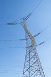 Electricity Pylon, electrical wires. A pylon in Poland, showing geometry of the lines Stock Photos