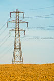 Electricity Pylon in Field Stock Photo