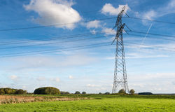 Electricity pylon in the field Stock Image
