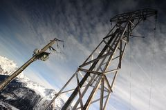 Electricity pylon in high mountain Stock Image