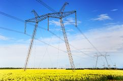 Electricity Pylon High Voltage Transmission Tower Royalty Free Stock Images