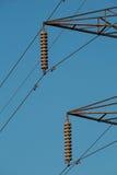 Electricity pylon insulators and arms Stock Photos