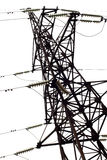 Electricity pylon, isolated. Power transmission tower on white background Royalty Free Stock Photos