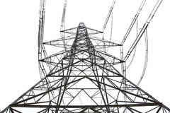 Electricity pylon. Isolated on white Royalty Free Stock Photography