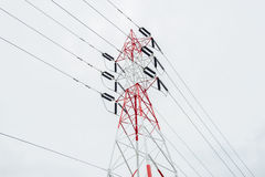 Electricity pylon isolated on white Royalty Free Stock Image