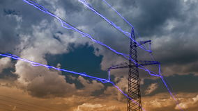 Electricity pylon 4K. Electricity pylon on blue sky background. (DSLR, 4K, Raw quality time lapse stock footage