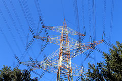 Electricity pylon with many junctions Royalty Free Stock Photo