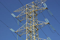 Electricity Pylon in Mexico. Close up of spars on an electricity pylon in Mexico against blue sky stock images