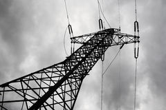 Electricity pylon in moody day. Stock Images
