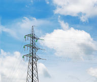 Electricity pylon n clouds Stock Images