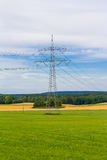 Electricity pylon with power cables Royalty Free Stock Photo